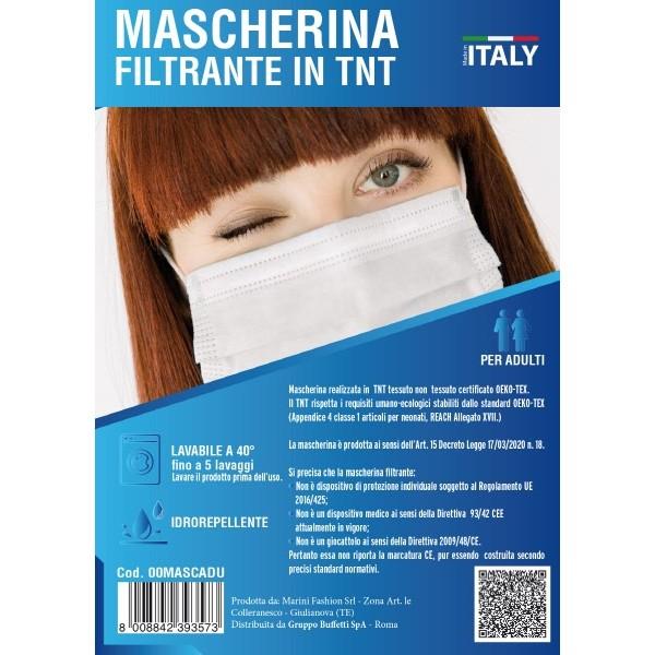 Mascherina filtrante in TNT per adulti Bianche e Nere