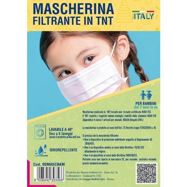 Mascherina filtrante in TNT per bambini Bianche