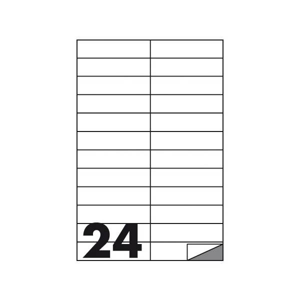 Etichette multifunzione 100 fogli 105 x 25 mm con angoli vivi con margine 24 etichette per foglio Buffetti