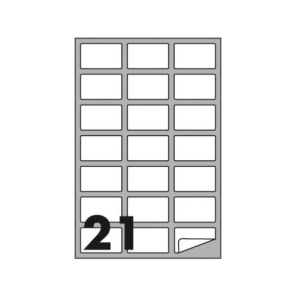 Etichette multifunzione 100 fogli 63,5 x 38,1 mm con angoli arrotondati e margine 21 etichette per foglio Buffetti