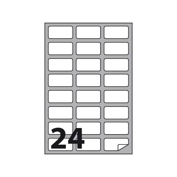 Etichette multifunzione 100 fogli 64 x 34 mm con angoli arrotondati e margine 24 etichette per foglio Buffetti