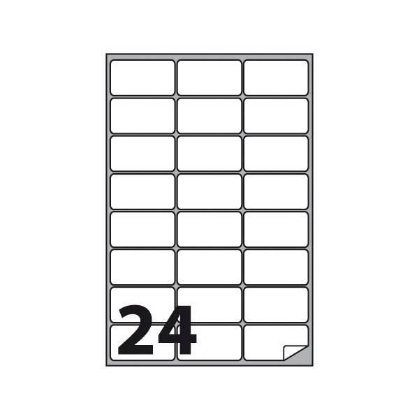 Etichette multifunzione 100 fogli 66 x 33,86 mm con angoli arrotondati e margine 24 etichette per foglio Buffetti