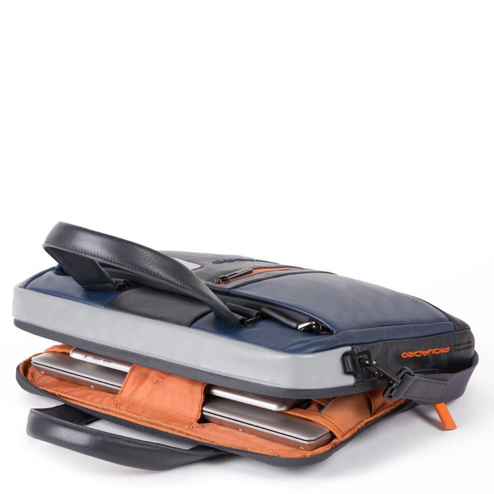 Piquadro Cartella sottile porta computer e porta iPad® Urban in pelle Blu-Grigio