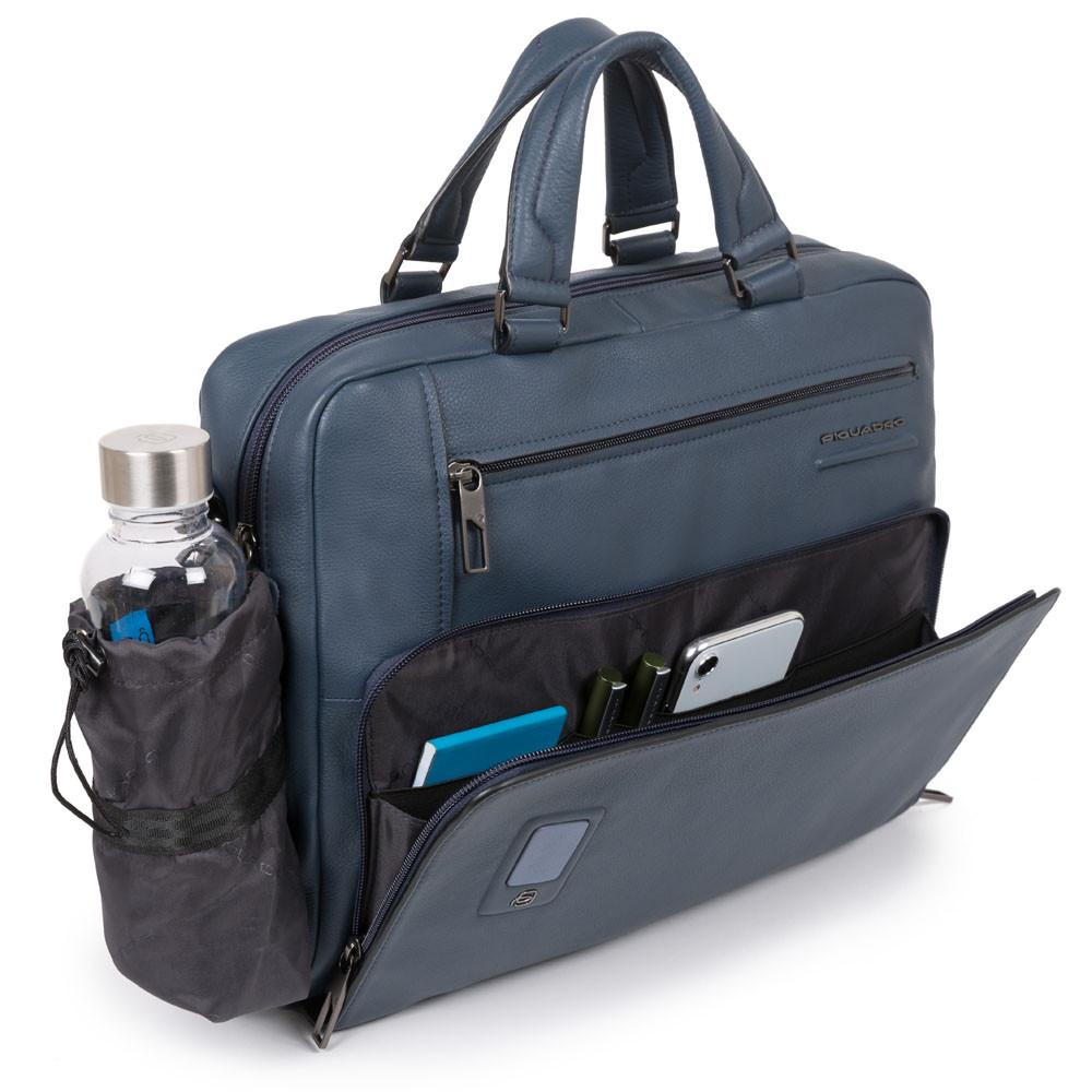 Piquadro Cartella a due manici personalizzabile porta Akron Blu