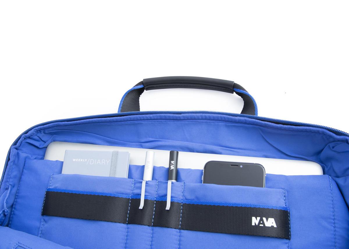 Nava Cartella Cross con 2 manici e tracolla amovibile, porta PC e iPad Nero - Blu