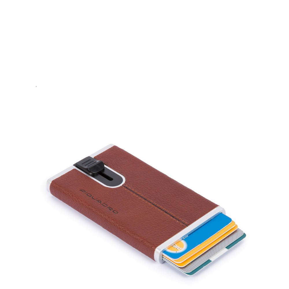 Piquadro Porta carte di credito con sliding system Black Square Cuoio
