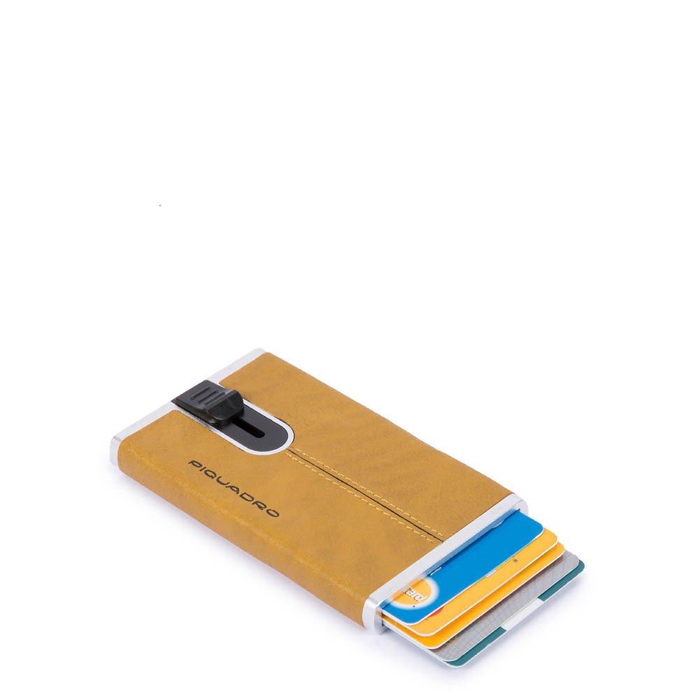 Piquadro Porta carte di credito con sliding system Black Square Giallo