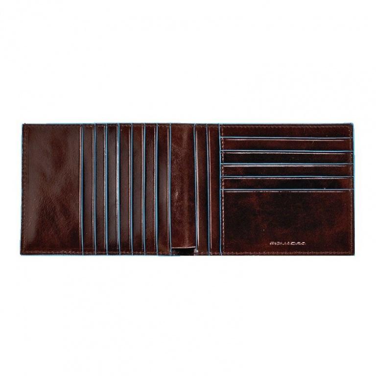Piquadro Portafoglio uomo con dodici scomparti porta carte di credito Mogano