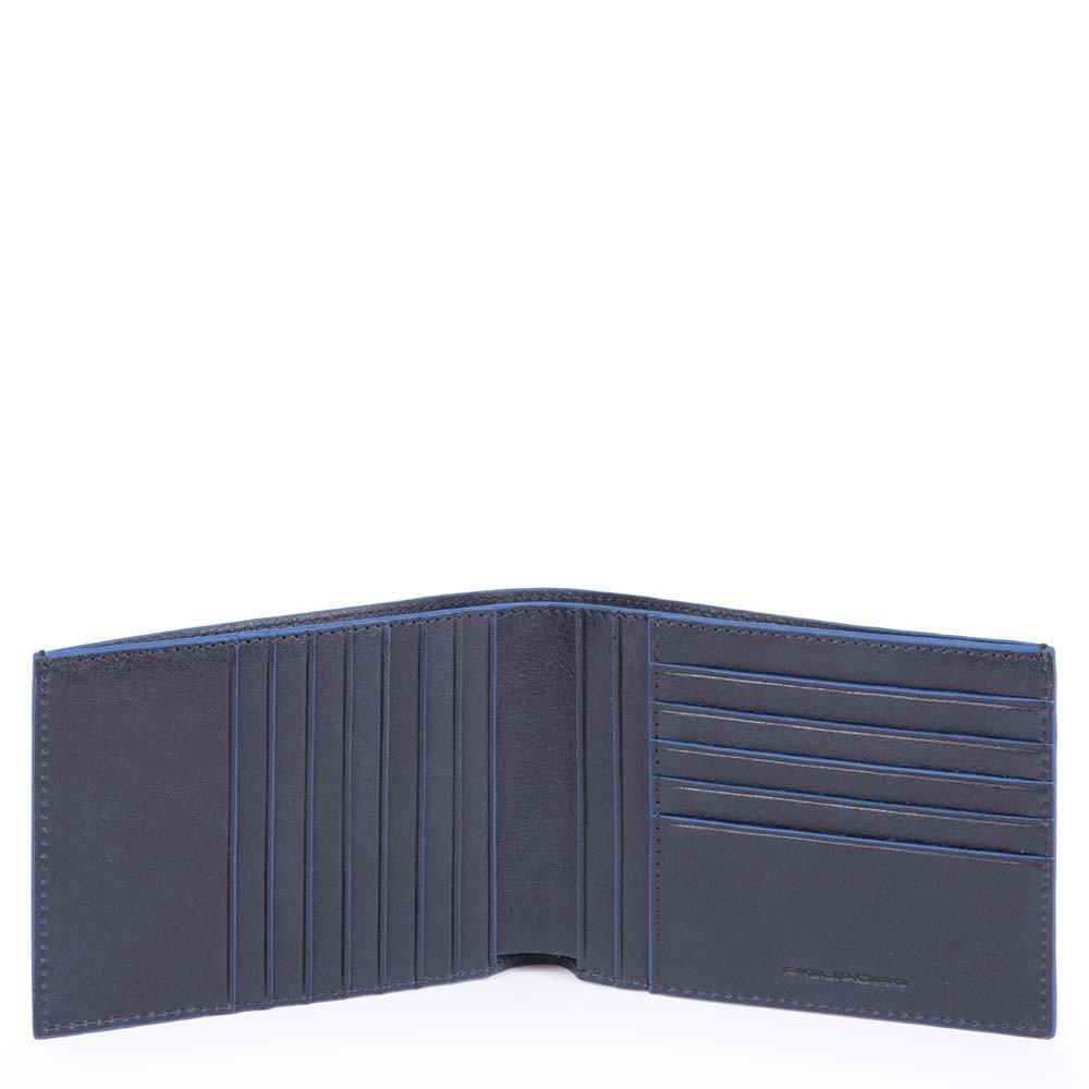 Piquadro Portafoglio Blue Square con dodici scomparti porta carte di credito e protezione anti-frode RFID Blu