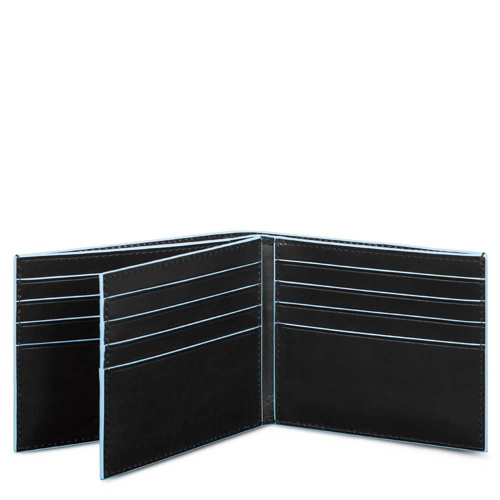Piquadro Portafoglio Blue Square in pelle con tasche per carte di credito Nero