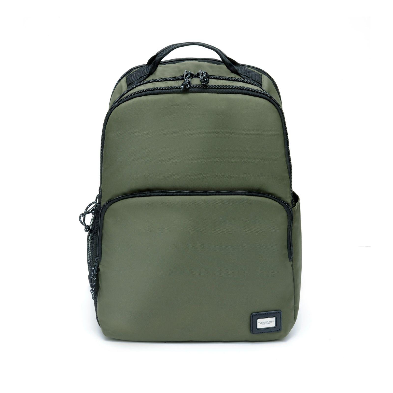 """Ag Spalding & Bros Zaino Compact Heet porta PC da 15,6"""" in Nylon rinforzato Verde"""
