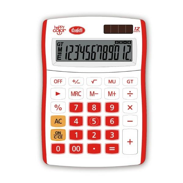 Buffetti Calcolatrice Happy Color Big 12 digit - 130x185 mm - 4 funzioni + memoria Rossa