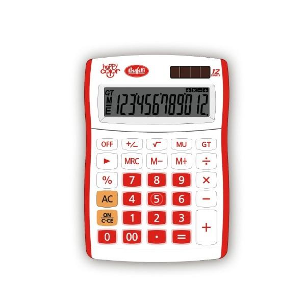 Buffetti Calcolatrice Happy Color Small 12 digit - 90x130 mm - 4 funzioni + memoria Rossa