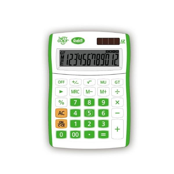 Buffetti Calcolatrice Happy Color Small 12 digit - 90x130 mm - 4 funzioni + memoria Verde
