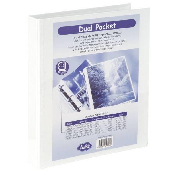 Buffetti Cartella Dual Pocket 4 anelli - Diametro 50mm - bianco