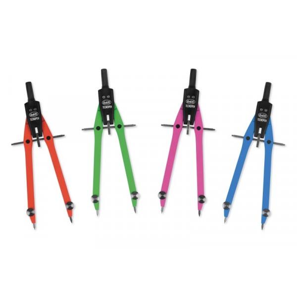Buffetti Compasso balaustrone Neon in zama - L 170mm - aste in 4 colori fluorescenti (blu, verde, fucsia e arancio)