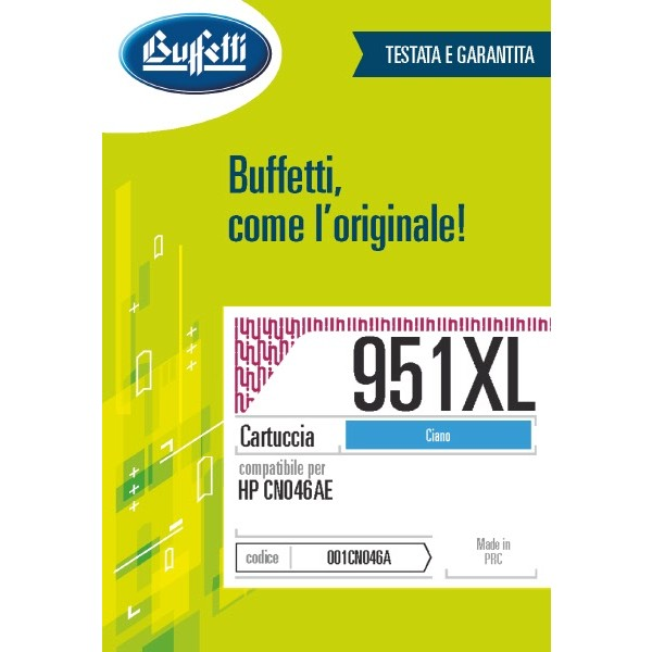 Buffetti HP cartuccia ink jet - compatibile - CN046AE - ciano