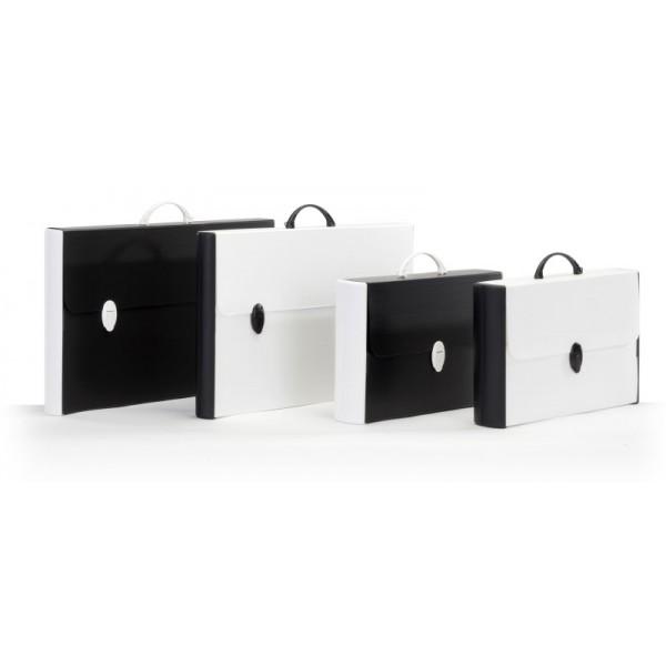 Buffetti Valigetta in polionda Black White - dorso rigido - 28 x 43 cm - dorso 8,5 cm