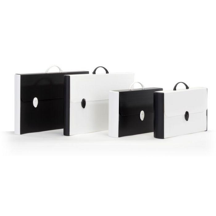 Buffetti Valigetta in polionda Black White - dorso rigido - 37 x 60 cm - dorso 5,5 cm