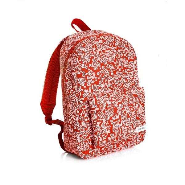 Buffetti Zaino con tasca frontale Keith Haring Rosso