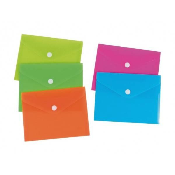 Buste in PP con bottone 10,5x15 cm 5 colori neon Buffetti