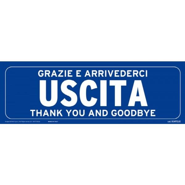 Cartello adesivo verticale 30x10 cm - USCITA