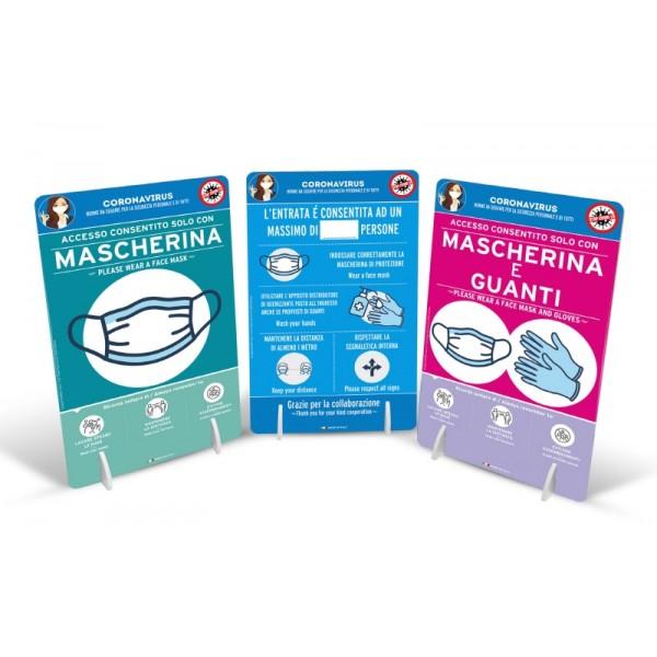 Cartello da banco bifacciale con 2 piedini - f.to 30x45 cm - Obbligo mascherina e guanti