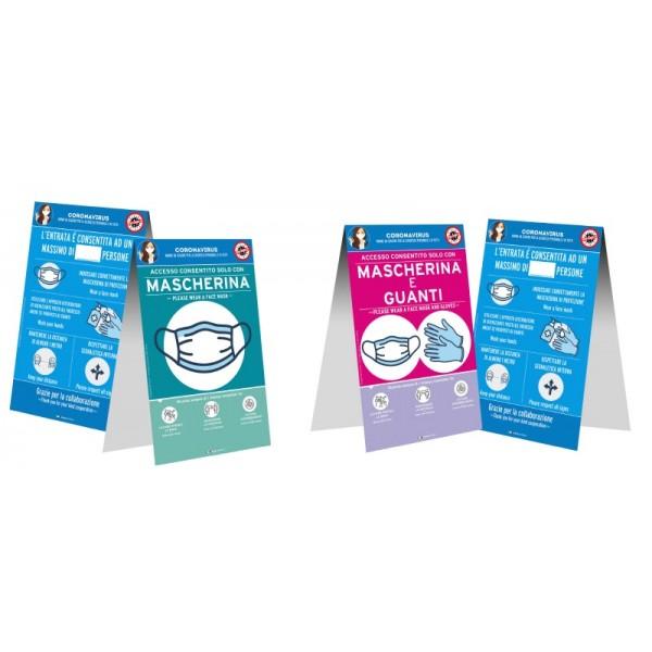 Cartello da banco bifacciale - f.to 21x32 cm - Obbligo mascherina-guanti-regole accesso