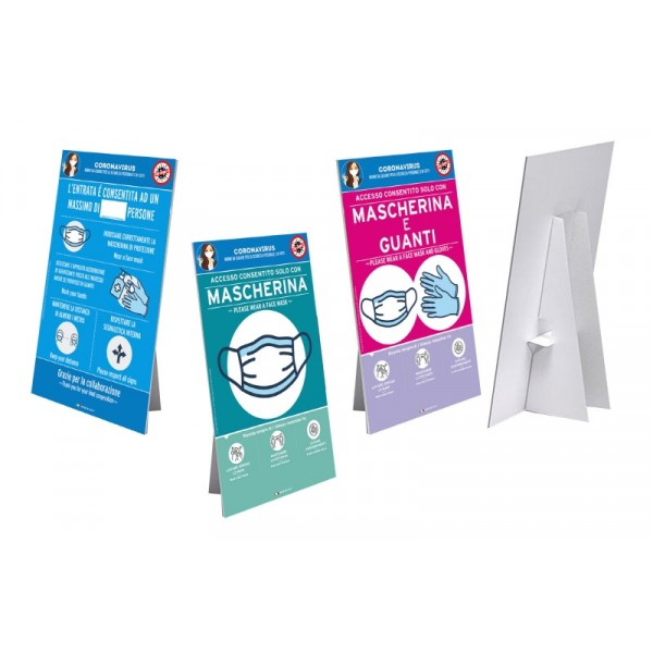 Cartello da banco con piedino e con biadesivo - f.to 30x45 cm - Obbligo mascherina