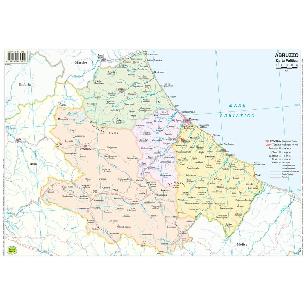 Cartografia Belletti Mappa Murale Abruzzo 61*85cm
