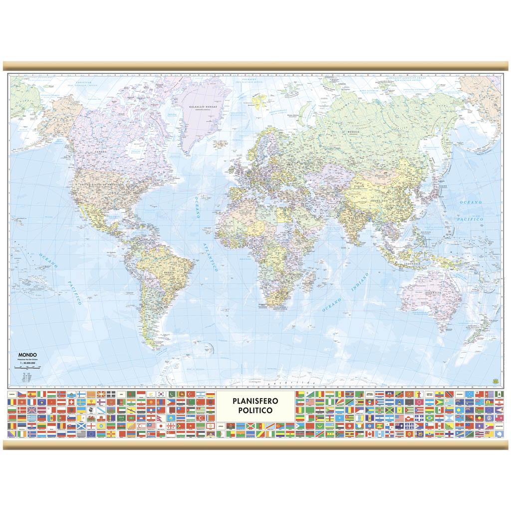 Cartografia Belletti Mappa Murale Mondo 132x99cm