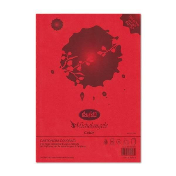 Cartoncini Michelangelo Color A4 -Rosso scarlatto- risma da 50 fogli - 160gr.-colori forti