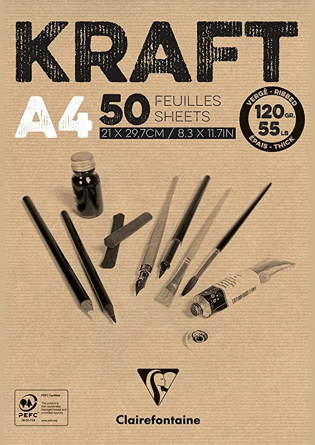 Claire Fontaine Blocco 50 fogli Carta Kraft 120g A4