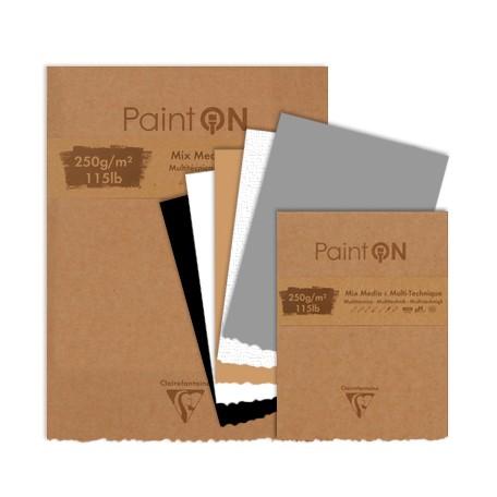Claire Fontaine Blocco Paint'On, 50 fogli in colori assortiti incollati e frangiati, copertina kraft 250g-m2 115lb