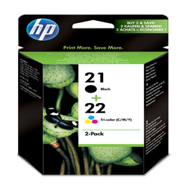 CONFEZIONE DA 2 CARTUCCE HP N. 21 E NR. 22