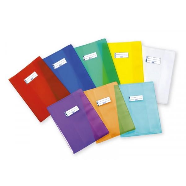 Copertine per quaderni in PP trasparente con etichetta portanome 30x21 Spessore extra Colori assortiti