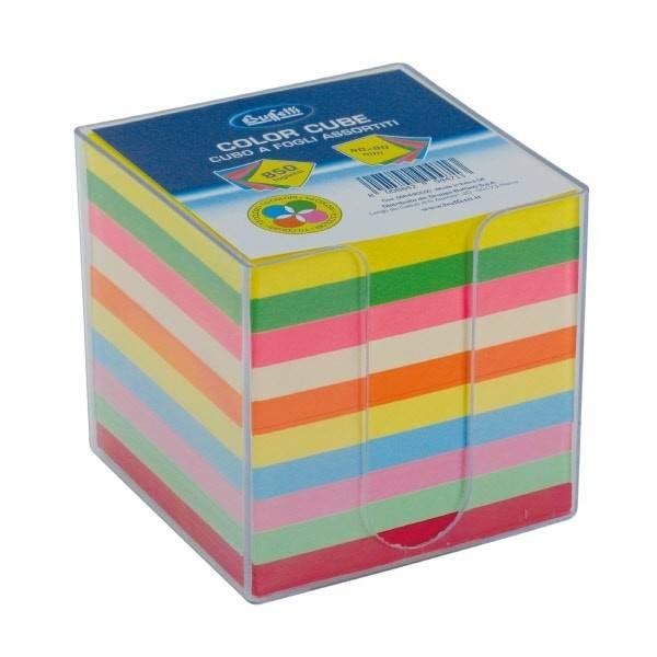 Cubo colorato con dispenser in acrilico trasparente 850 fogli 9x9x9 mm Buffetti
