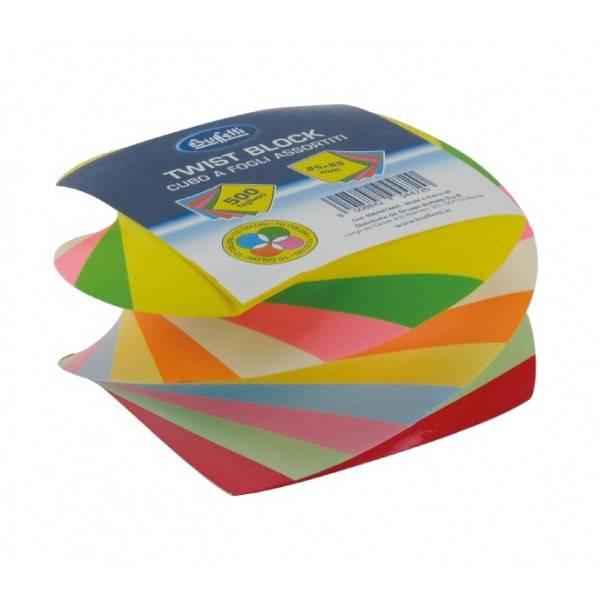 Cubo Twist colorato 500 fogli 85x85 mm colorato Buffetti