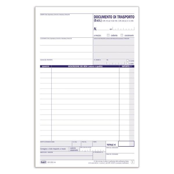 Documento di trasporto Blocco 2cp 21-5x14-8 cm