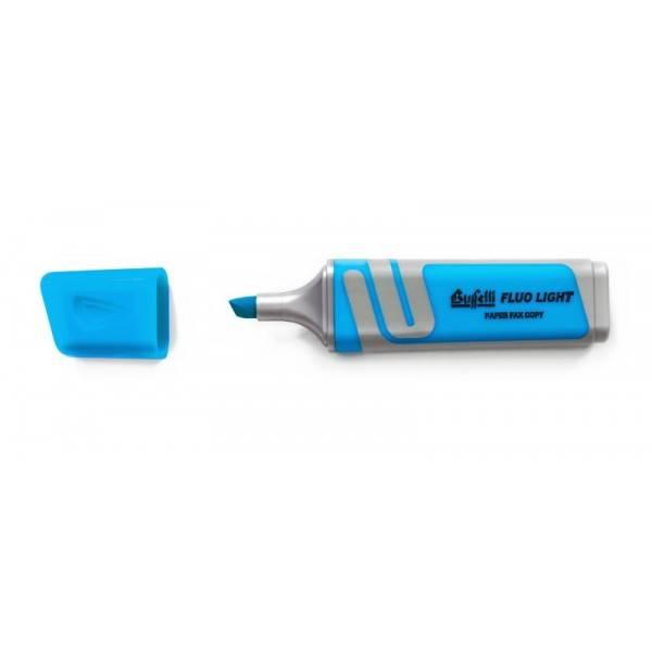 Evidenziatore fluorescente azzurro con punta a scalpello Tratto 2.5 mm Buffetti