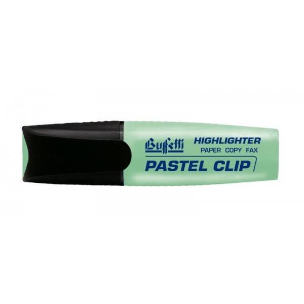 Evidenziatore pastello verde con punta a scalpello tratto 2.5 mm Buffetti