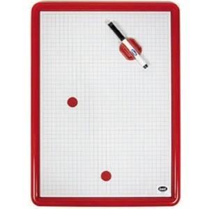 Lavagna magnetica con cornice in plastica colorata rossa 49 x 35 cm tracciato quadri da 1 cm Buffetti