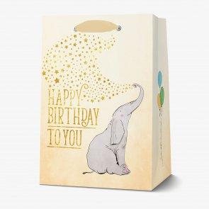 LEGAMI SACCHETTO REGALO HAPPY BIRTHDAY LARGE ELEPHANT