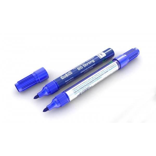 Marcatore permanente fusto metallo B5 Strong con punta tonda e tratto 2,5 mm blu Buffetti
