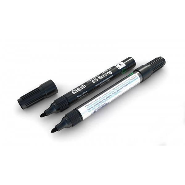 Marcatore permanente fusto metallo B5 Strong con punta tonda e tratto 2,5 mm nero Buffetti