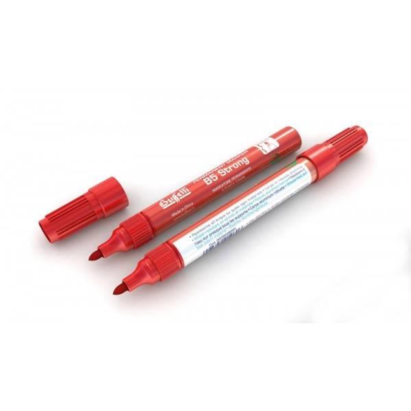 Marcatore permanente fusto metallo B5 Strong con punta tonda e tratto 2,5 mm rosso Buffetti