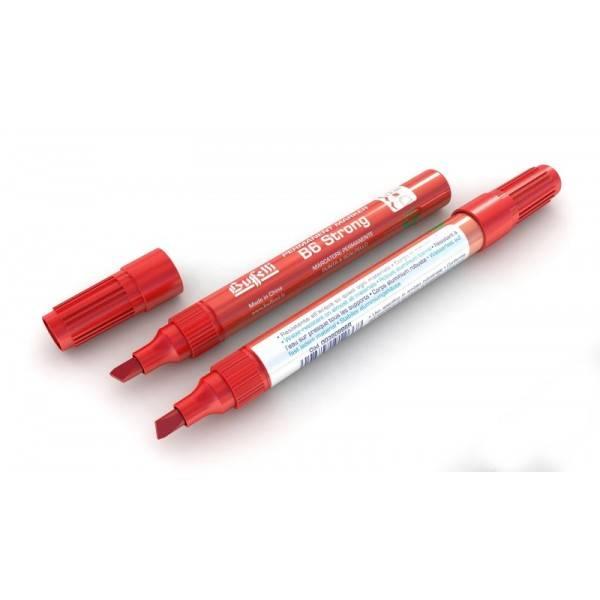 Marcatore permanente fusto metallo B65 Strong con punta a scalpello e tratto 1-5 mm rosso Buffetti
