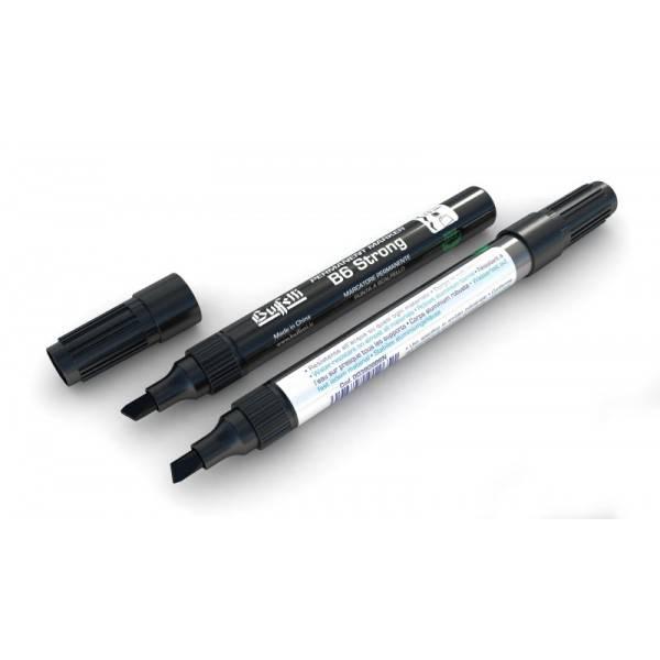 Marcatore permanente fusto metallo B65 Strong con punta a scalpello e tratto 1-5 mm nero Buffetti