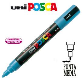 Marcatore UNI POSCA PC5M punta media 1,8 - 2,5 mm azzurro UNI MITSUBISHI