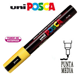 Marcatore UNI POSCA PC5M punta media 1,8 - 2,5 mm giallo UNI MITSUBISHI